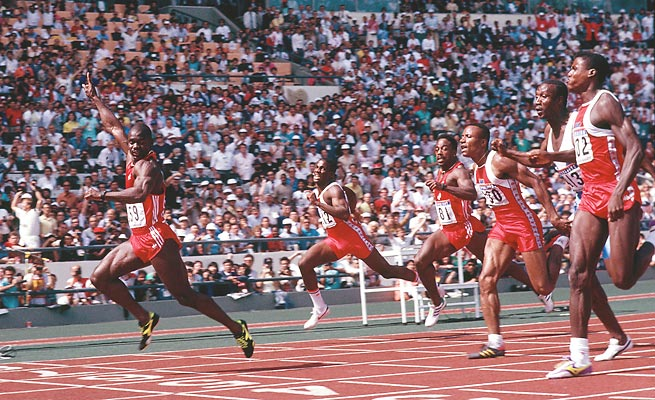 Ben Johnson won a gold medal in the 100 meters at the 1988 Seoul Olympics before having it stripped when he tested positive for steroids.
