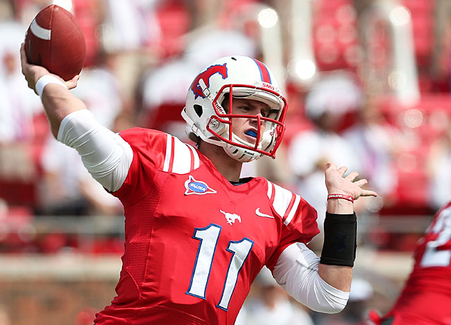 SMU quarterback Garrett Gilbert threw 15 interceptions in 2012, but only two over his final six games.