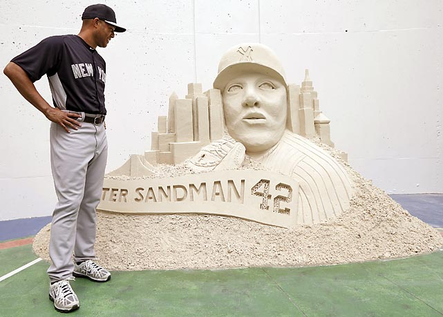 Sanding Ovations of Treasure Island had a gritty little going-away gift for the great closer before his game against the Tampa Bay Rays in St. Petersburg. It's a total beach for Yankees fans that Rivera is retiring at the end of the season.