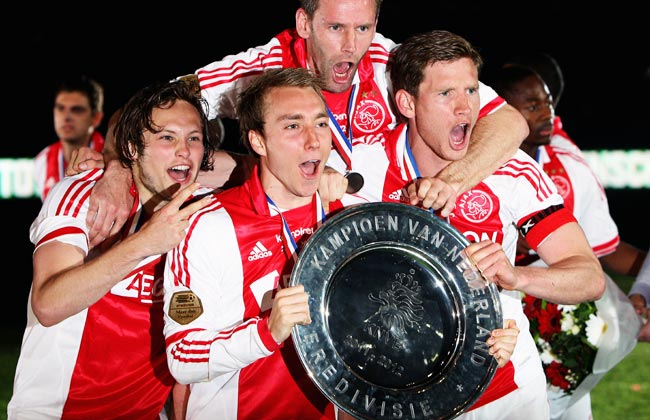 Christian Eriksen (second from left) won the Eredivisie at Ajax with current Tottenham defender Jan Vertonghen (far right).