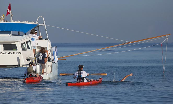 Diana Nyad, 64, began her swim from Havana to Florida without major incident.
