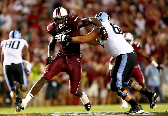 South Carolina defensive end Jadeveon Clowney received flak for his quiet performance against UNC.