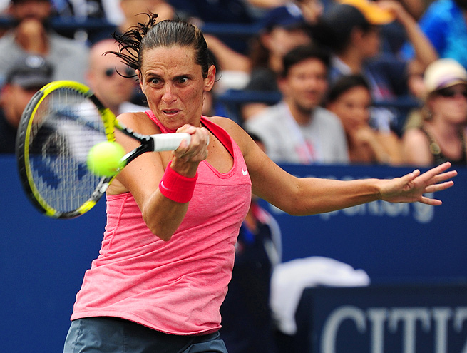 Roberta Vinci and fellow Italian Camila Giorgi barely finished their match before the rain paused play at the U.S. Open.