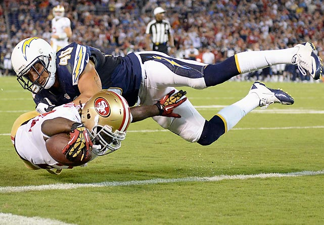Running back Anthony Dixon of the 49ers dives into the end zone for a touchdown despite the best efforts of Chargers safety Sean Cattouse during the second quarter of San Francisco's 41-6 preseason victory on Aug. 29.