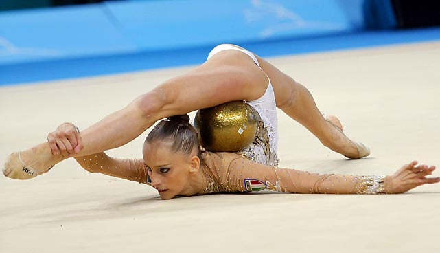 Veronica Bertolini of Italy performs with a ball during the 32nd FIG Rhythmic Gymnastics World Championships in Kiev, Ukraine, on Aug. 28. Bertolini received a score of 16.000 for her ball routine and placed 26th in the all-around competition.