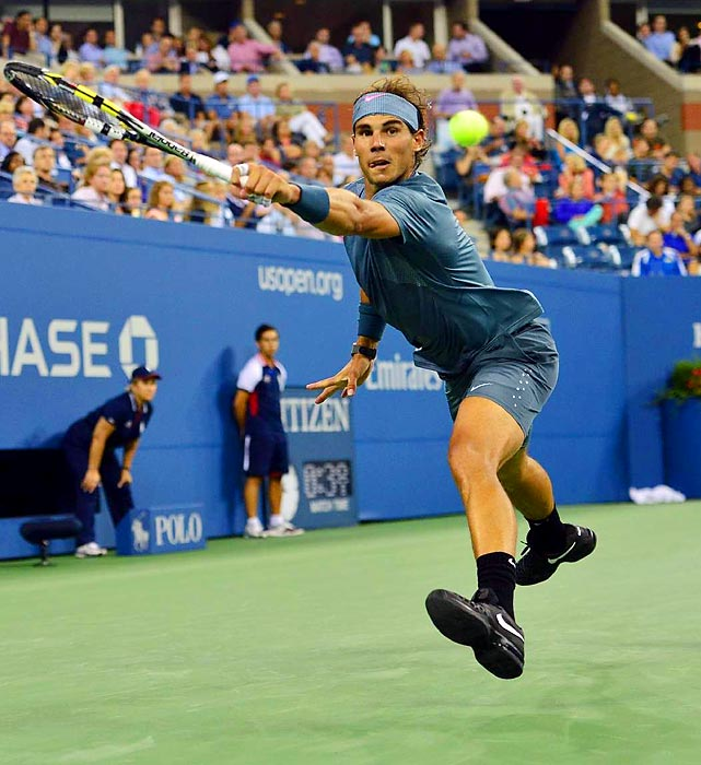 Rafael Nadal extends for a backhand during his 6-2, 6-1, 6-0 second-round victory over 134th-ranked Rogerio Dutra Silva at the U.S. Open on Aug. 29.