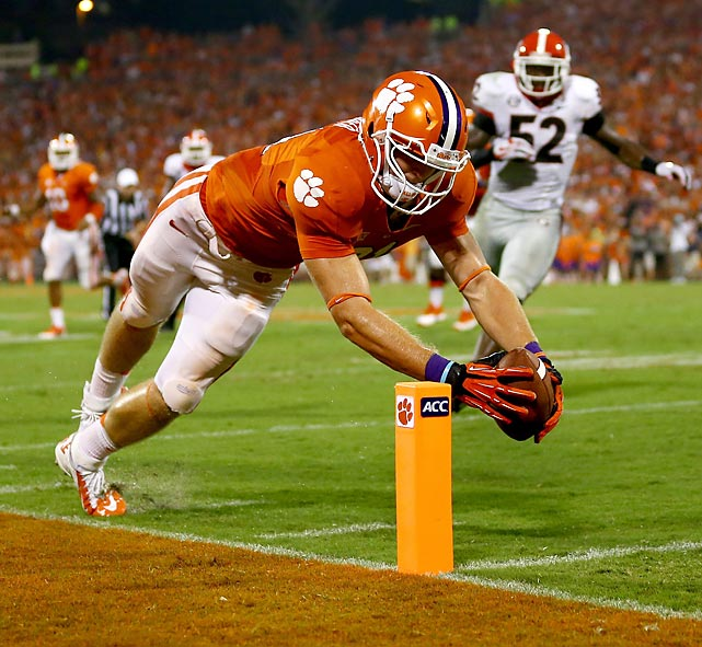 Clemson wide receiver Stanton Seckinger dives inside the pylon for a touchdown to give the eighth-ranked Tigers' a 38-28 fourth-quarter lead over Georgia in the season-opener for both teams last Saturday. Seckinger's score proved to be the difference-maker as Clemson eked out a 38-35 victory over the No. 5 Bulldogs.