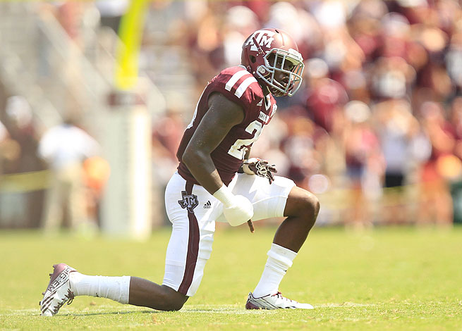 Texas A&M's Deshazor Everett was ejected from the Aggies' victory over Rice due to a targeting call.