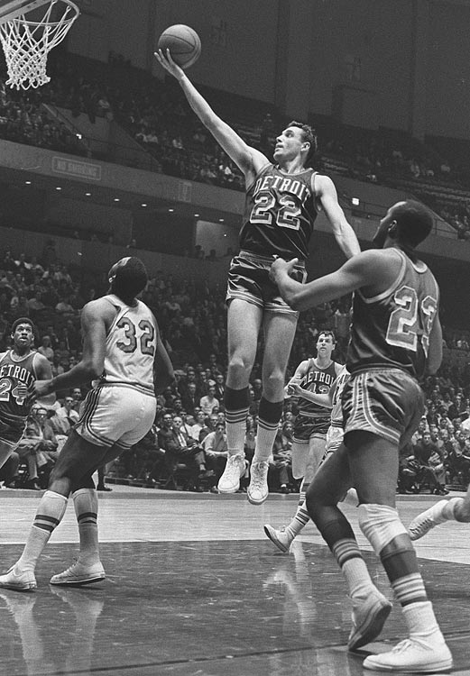 The Pistons had 14 consecutive losing seasons, 13 of which came after moving from Fort Wayne, IN, to Detroit. During the 1960s, the Pistons were characterized by very strong individuals and weak teams. In fact, in their first 26 seasons in Detroit, they only had three winning seasons. Pictured is Dave DeBusschere (Pistons 1962-68)