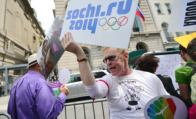 The next IOC president will have to carefully navigate the IOC through protests of Russia's anti-gay law.