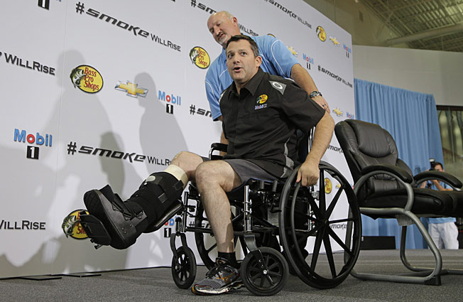 A broken leg that required two surgeries ended Tony Stewart's streak of 521 consecutive starts.