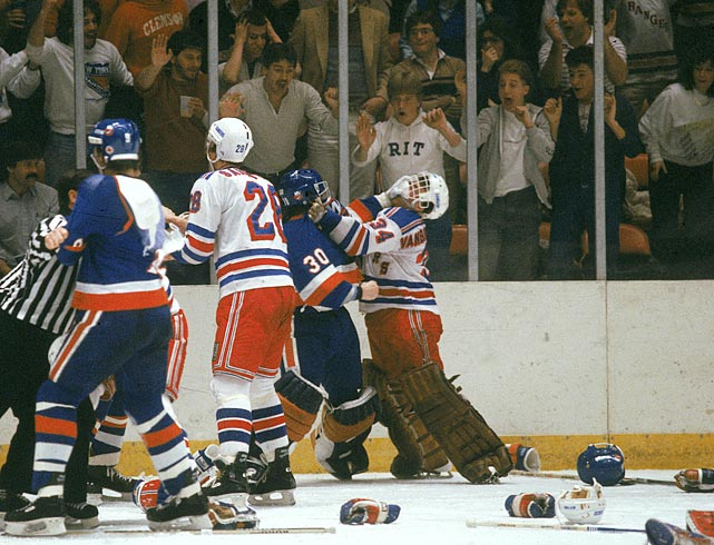 Beezer and counterpart Kelly Hrudey exchanged pleasantries as the New York rivalry between the Rangers and Islanders boiled over into a brawl at Madison Square Garden. Vanbiesbrouck was drafted by the Rangers in the fourth round of the 1981 NHL Draft and played for them until 1993.