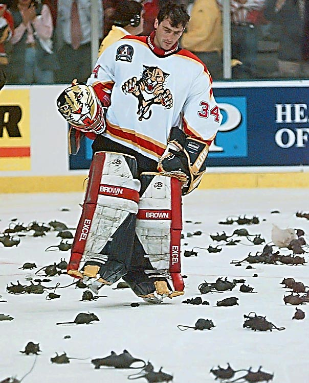 "As their fans tossed plastic rats in homage to forward Scott Mellanby famously killing a rodent in the team's dressing room (a feat that Beezer termed ""a rat trick'), the Panthers staged a run to the 1996 Stanley Cup Final. Though they were swept by Colorado, he played valiantly, taking the Avs to triple overtime in Game 4 before losing, 1-0."