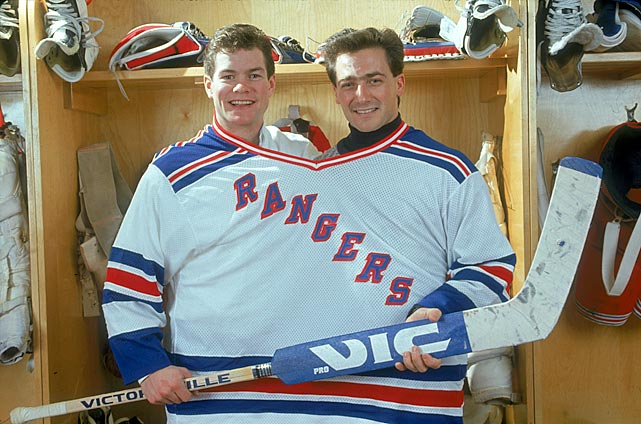 In 1989, Mike Richter (left) arrived on the scene to share the Rangers' net with Vanbiesbrouck. Here they are together in January 1991. Richter later backstopped New York to the Stanley Cup during the 1993-94 season, Beezer's first with Florida after the Panthers claimed him in the NHL expansion draft.
