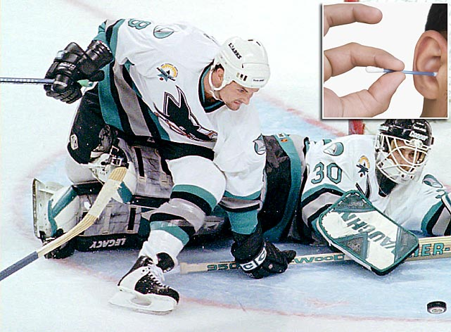 Darren Turcotte of the Sharks was sidelined in January 1997 when he punctured his eardrum with a cotton swab just before a game. The injury was not unheard of in San Jose. In October 1991, Sharks defenseman Rick Lessard missed six games when he ran afoul of a Q-tip.