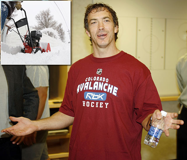 While recovering from a herniated disc in his back captain Joe Sakic of the Avalamche broke three fingers and damaged a tendon in his left hand while operating a snowblower in December 2008. He needed surgery and missed the rest of the season.