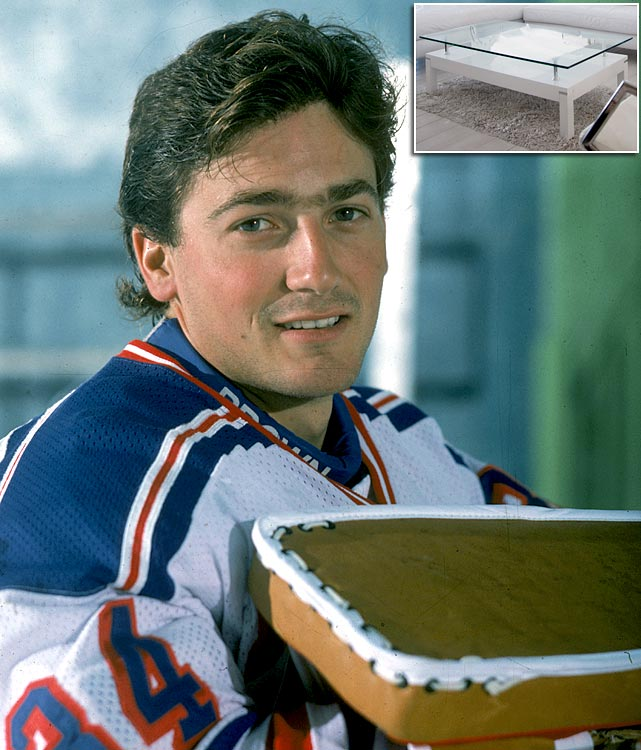 New York Rangers goalie John Vanbiesbrouck sliced his left wrist and suffered never damage when he sat on and fell through a glass coffee table at his home in June 1988. He needed five hours of microsurgery.
