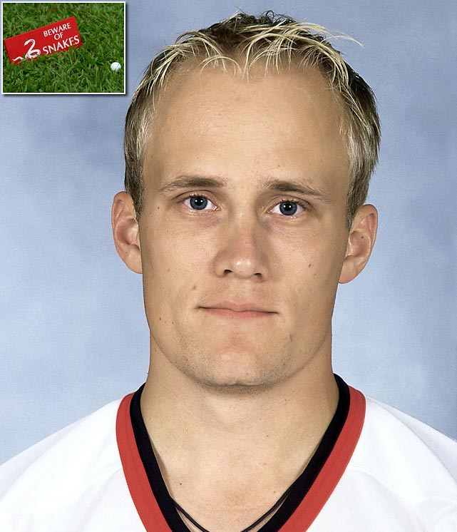 Defenseman Sami Salo of the Senators was bitten on the right calf by a venomous snake while playing golf in Finland during the summer of 2000. He ended up missing games that October due to complications.