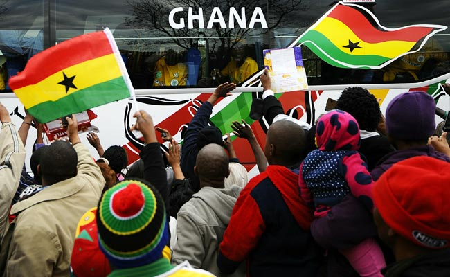 Fans greet the Ghanaian team in South Africa ahead of the 2010 World Cup.
