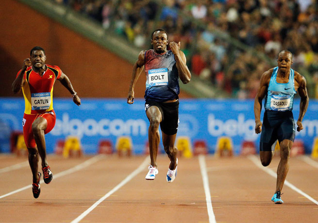 Usain Bolt (center) recently announced he would retire after the 2016 Olympics in Rio de Janeiro.