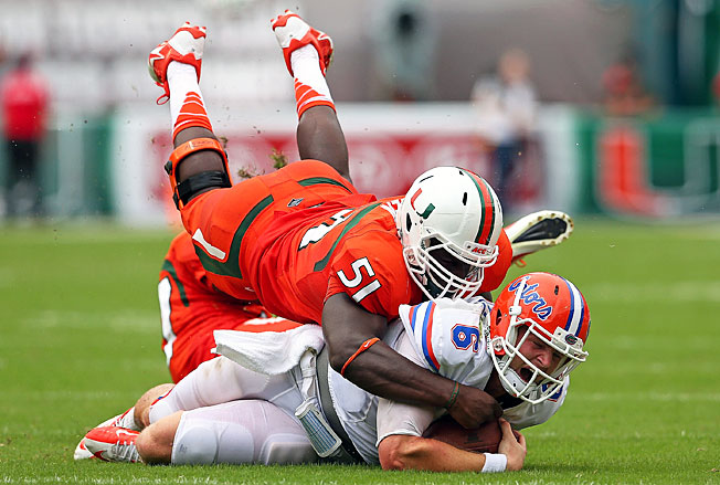 Shayon Green and Miami's defense consistently pressured Jeff Driskel, forcing five turnovers Saturday.