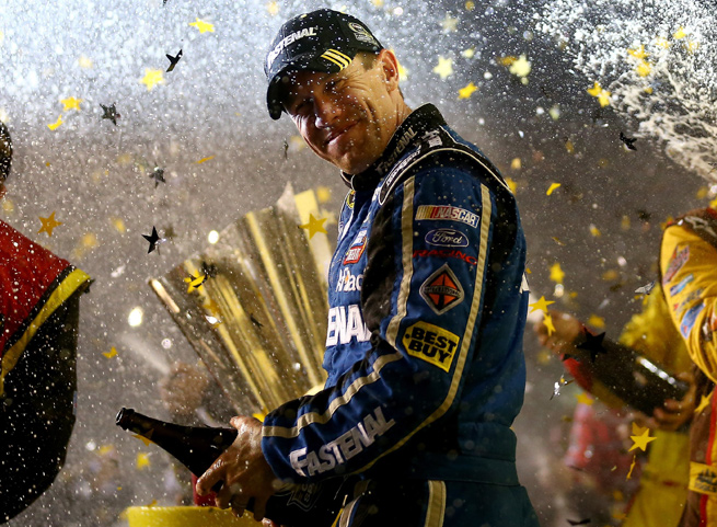 Carl Edwards took the race at Richmond after a caution cost Ryan Newman the top spot.