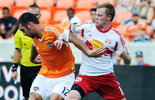 The Red Bulls outplayed Will Bruin (left) and the sixth-place Dynamo on Sunday, winning 4-1.
