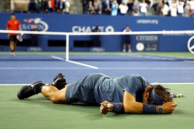 Rafael Nadal celebrates after beating Novak Djokovic to win his second U.S. Open title.