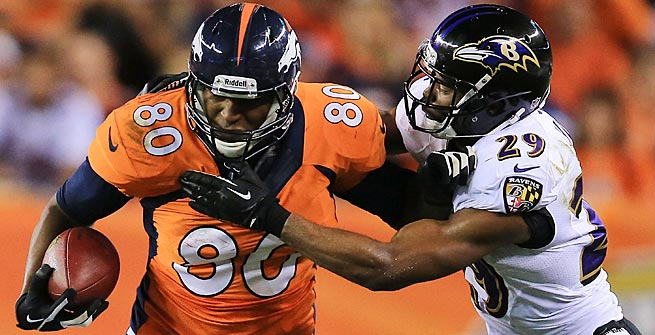 Julius Thomas has his coming-out party in the Broncos opener, catching two touchdown passes.