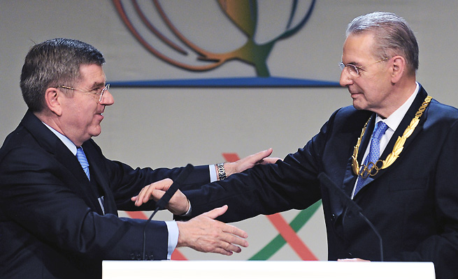 Thomas Bach (left) takes over for Jacques Rogge as IOC boss with many potential challenges awaiting.