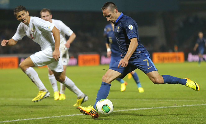 Franck Ribery scored twice to help France to a 4-2 win over Belarus in World Cup qualifying.