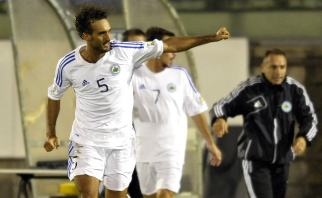 Alessandro Della Valle celebrates after scoring against Poland on Tuesday.