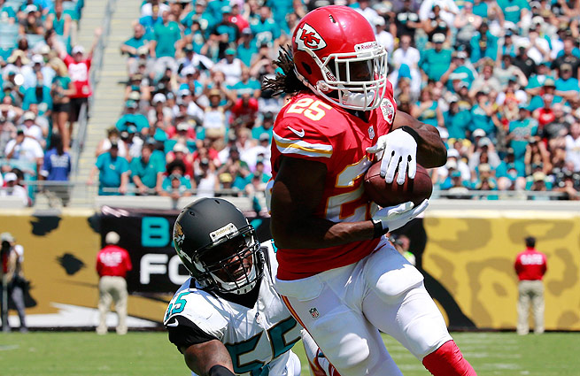 Jamaal Charles rushed for 77 yards before leaving Sunday's game against the Jaguars.