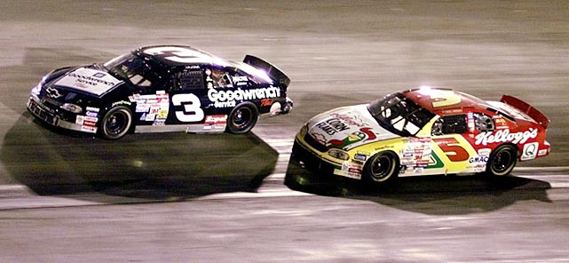 """Locked in a duel with Terry Labonte (5) during the 1999 night race at Bristol, The Intimidator, who had wrecked his rival during the final lap on the same track four years earlier (Labonte still managed to win), did it again, sending him into a spin. Earnhardt won, but was showered with boos and middle fingers from the crowd. """"God, I love this s?t,"""" he said."""