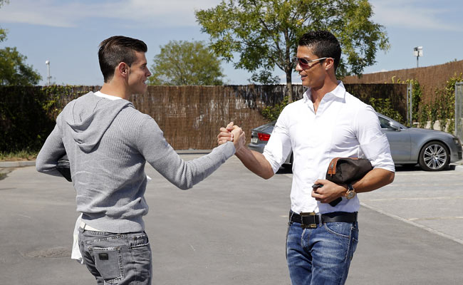 Cristiano Ronaldo (right) greeted Gareth Bale upon Bale's arrival to the Real Madrid training ground.