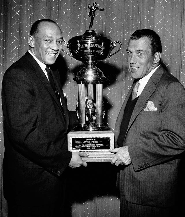 "Owens was awarded Mercury's Second Championship Performance trophy on March 16, 1958 on the ""Ed Sullivan Show."" Owens was presented a trophy honoring him for the greatest individual athletic performance between 1930 and 1945. He also was given a set of gold keys to a new 1958 Mercury."