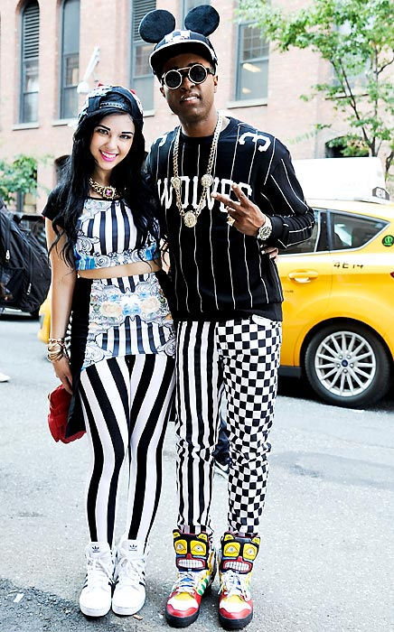 Also from the Jeremy Scott high end threads extravaganza, hip hop/Korean pop dance provocateurs Brawdway and Jet Phynx (aka Typical Friday Night) model what the well-appointed referee will be wearing next year.