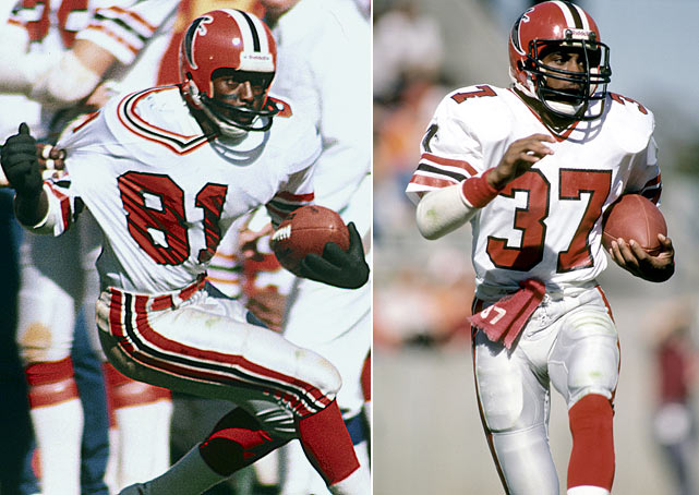 The Falcons made two 21-point comebacks in 1983. Against the Jets, Atlanta trailed by three touchdowns in the third quarter before Billy Johnson found the end zone twice and the Falcons scored 27 straight points to close the game. A month later, against the Packers, Atlanta trailed 21-0 in the second quarter. But Kenny Johnson returned two interceptions for touchdowns -- the first tied the game, the second won it in overtime.