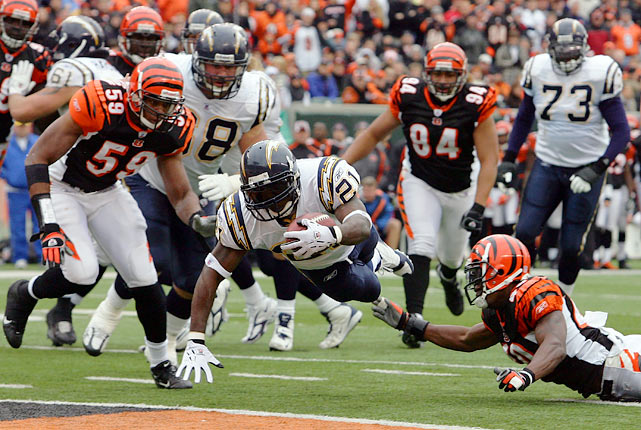 "The biggest comeback victory in Chargers' history was a noteworthy game for LaDainian Tomlinson. The running back was one of the top players in the NFL and would win that season's MVP award. Against the Bengals, he rushed for four touchdowns as San Diego recovered from a poor start. ""Being involved in that game, it was like it was a cartoon or something,"" Tomlinson said afterwards. The 1981 Chargers also won a game after falling behind by 21."