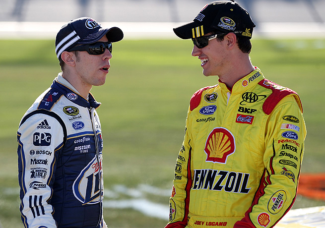 Joey Logano (right) and Brad Keselowski took the top two positions at Chicagoland during qualifying.