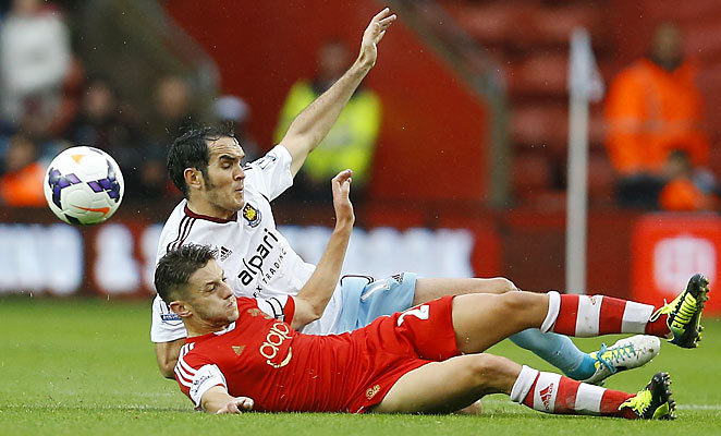 Southampton's Adam Lallana (front) couldn't produce a breakthrough for the home side against West Ham.