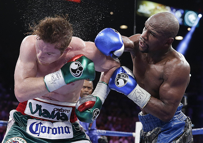 Floyd Mayweather Jr. improved his record to 45-0 with his victory over Canelo Alvarez on Saturday.