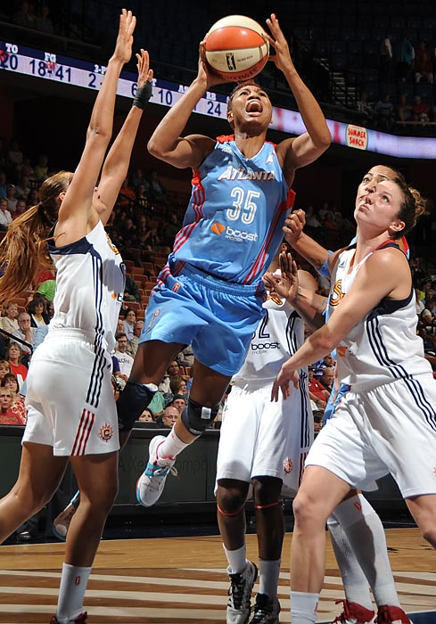 "The 6'1"" guard-forward leads the league in scoring (21.8 ppg) and steals (2.8) while also contributing 5.5 rebounds and 4.7 assists. Despite of rash of injuries to other key player, McCoughtry still led the Dream to a second-place finish in the conference and a fifth-straight playoff berth?one for each year she's been in the league."