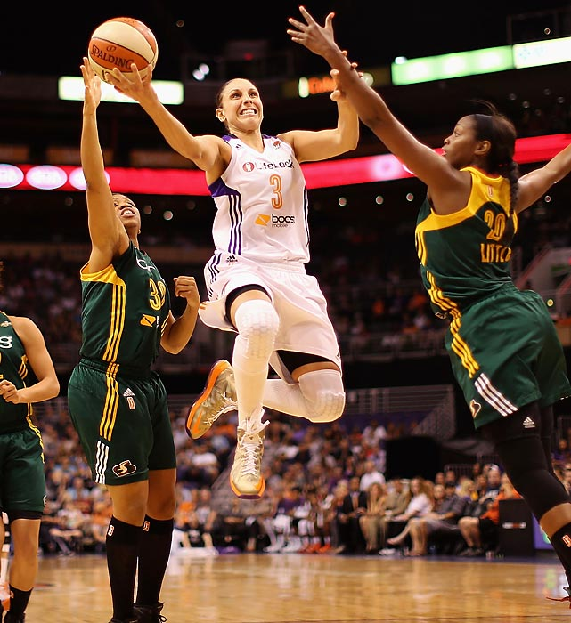 After missing most of last season with injuries, the 6-foot guard, and 2009 MVP, was supposed to team with rookie phenom Brittney Griner to dominate the league. Griner's injuries have not made that possible, but Taurasi has been a force all on her own. Her 20.8 points rank second in the league, but even more important, she's distributing the ball at the highest rate of her career. Her 186 assists (6.2 per game, 2nd in the WNBA) are 36 more than she's ever had in a season. Thanks to Taurasi's all-around play, the third-seeded Mercury are again threats to win the championship.