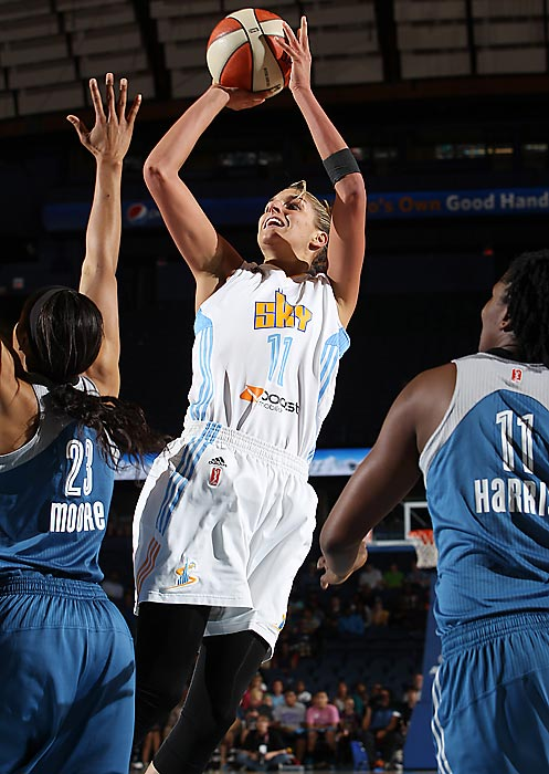 "The leader in almost every statistical category among first year players, she's a lock to win rookie-of-the-year honors and the 6'5"" forward could be the first player since Candace Parker in 2008 to also win MVP honors. Delle Donne has been a dominant offensive force, averaging 18.3 points and hitting 44.9% of her three-pointers and 92.5% of her free-throws. She even hit a buzzer-beating jumper in a win over Phoenix last week. Chicago had never made the playoffs before this year?with Delle Donne they clinched the top record in the East."