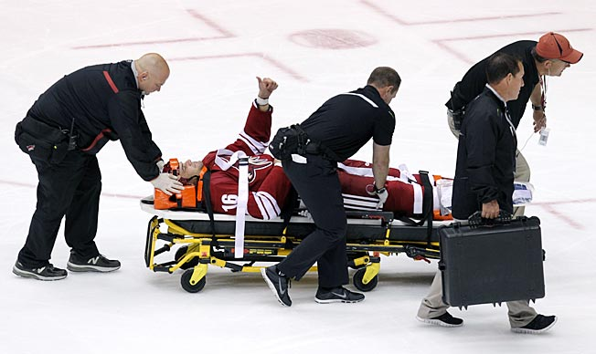 Coyotes defenseman Rusty Klesla gave the thumbs up as he was wheeled off the ice Sunday night.