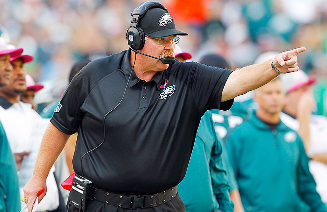Andy Reid spent 14 years with the Eagles, leading them to five NFC title games and one Super Bowl.