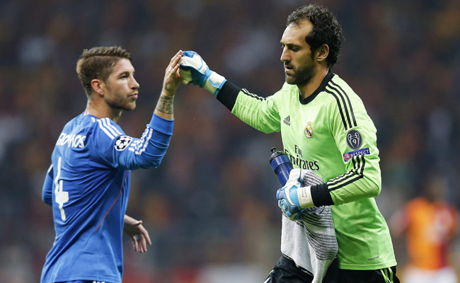 Real Madrid goalkeeper Diego Lopez came on early in the first half after Iker Casillas was injured.