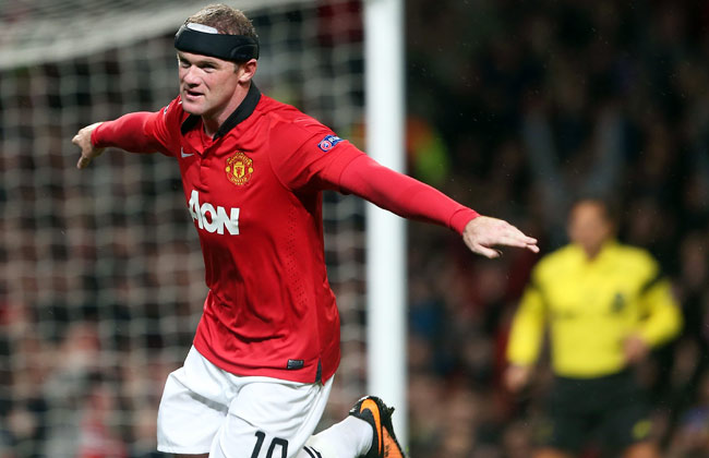 Wayne Rooney celebrates after scoring his second goal of the day.