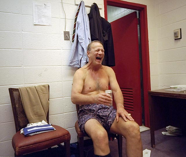Laughter is infectious, and this photo of Cowboys coach Barry Switzer cutting loose in the locker room is almost sure to make you smile. Taken in 1994, this picture captures Switzer in his first season in Dallas after a long reign as coach at the University of Oklahoma.